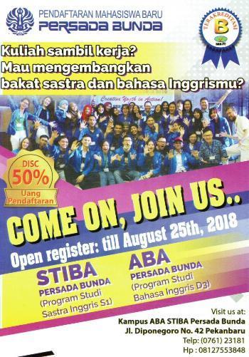 Penerimaan Mahasiswa Baru 2018-2019 STIBA/ABA